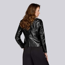 Damska kurtka z ekoskóry prosta, czarny, 93-9P-111-1-S, Zdjęcie 1