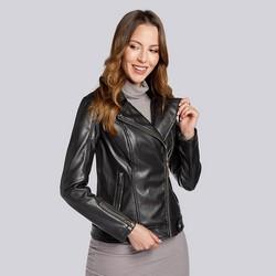 Damska kurtka z miękkiej ekoskóry, czarny, 93-9P-109-1-L, Zdjęcie 1