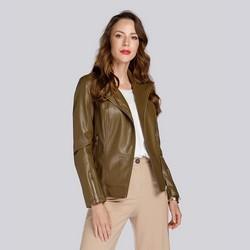 Damska kurtka z miękkiej ekoskóry, khaki, 93-9P-109-Z-L, Zdjęcie 1
