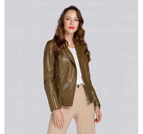 Damska kurtka z miękkiej ekoskóry, khaki, 93-9P-109-1-S, Zdjęcie 1