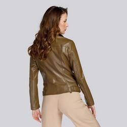 Damska kurtka z miękkiej ekoskóry, khaki, 93-9P-109-Z-S, Zdjęcie 1