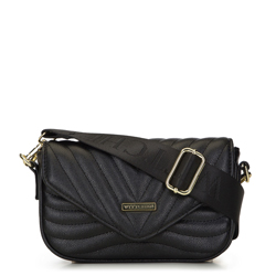 Chevron quilted cross body bag, black, 93-4Y-212-1, Photo 1