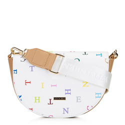 Damska listonoszka saddle bag w litery, biały, 92-4Y-571-0X, Zdjęcie 1