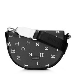 Damska listonoszka saddle bag w litery, czarny, 92-4Y-571-1X, Zdjęcie 1