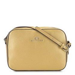 Damska listonoszka skórzana o pudełkowym kroju, złoty, 29-4E-005-G, Zdjęcie 1