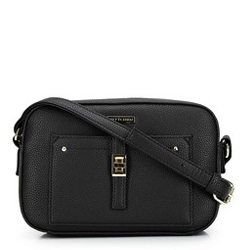 Women's cross body bag with front pocket, black-gold, 29-4Y-001-1G, Photo 1