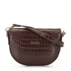Women's textured shoulder bag, brown, 93-4Y-218-4, Photo 1