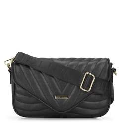 Chevron quilted cross body bag, black, 93-4Y-213-1, Photo 1