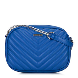 Chevron quilted cross body bag, blue, 92-4Y-573-7, Photo 1