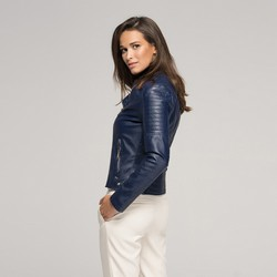 Women's faux leather biker jacket, navy blue, 91-9P-101-7-S, Photo 1
