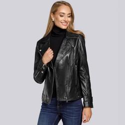 Women's leather biker jacket, black, 93-09-607-1-2XL, Photo 1