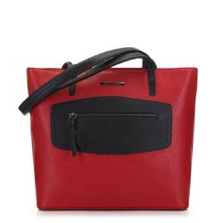 Torebka shopperka z ozdobnym panelem, czerwono - czarny, 91-4Y-200-3, Zdjęcie 1