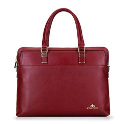 Damska torba na laptopa skórzana elegancka, bordowy, 92-4E-637-3, Zdjęcie 1