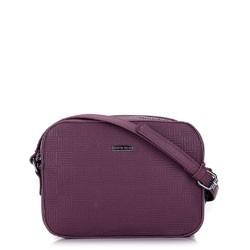 Damska torebka listonoszka wytłaczana, fioletowy, 91-4Y-623-V, Zdjęcie 1