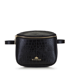 Damska torebka nerka skórzana prostokątna, czarno - złoty, 92-4E-655-1C, Zdjęcie 1