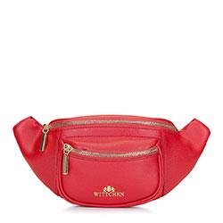 Damska torebka nerka skórzana z kieszonką, czerwony, 92-4E-634-3, Zdjęcie 1