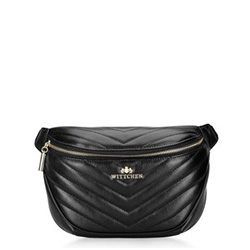 Damska torebka nerka z ukośnym pikowaniem, czarny, 92-4E-656-1, Zdjęcie 1