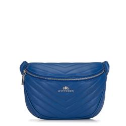 Damska torebka nerka z ukośnym pikowaniem, niebieski, 92-4E-656-7, Zdjęcie 1