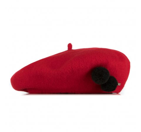 Damski beret wełniany z pomponami, czerwony, 91-HF-101-2, Zdjęcie 1