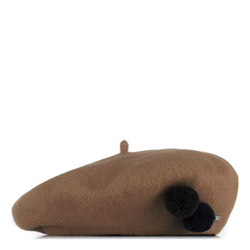 Women's beret, brown, 91-HF-101-5, Photo 1