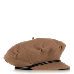 Women's wool beret, brown, 91-HF-100-5, Photo 1