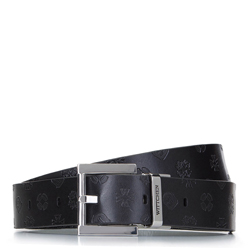 Damski pasek skórzany tłoczony w logo, czarny, 92-8D-300-11-2X, Zdjęcie 1