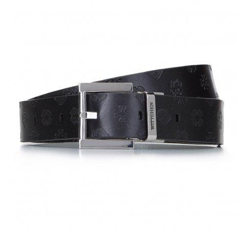 Damski pasek skórzany tłoczony w logo, czarny, 92-8D-300-11-M, Zdjęcie 1