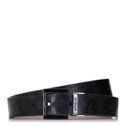 Damski pasek skórzany tłoczony w logo, czerwono - czarny, 92-8D-300-13-XL, Zdjęcie 1