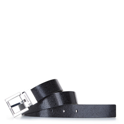 Damski pasek skórzany tłoczony w logo, czarny, 92-8D-300-11-L, Zdjęcie 1