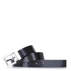 Damski pasek skórzany tłoczony w logo, czarny, 92-8D-300-11-XL, Zdjęcie 1