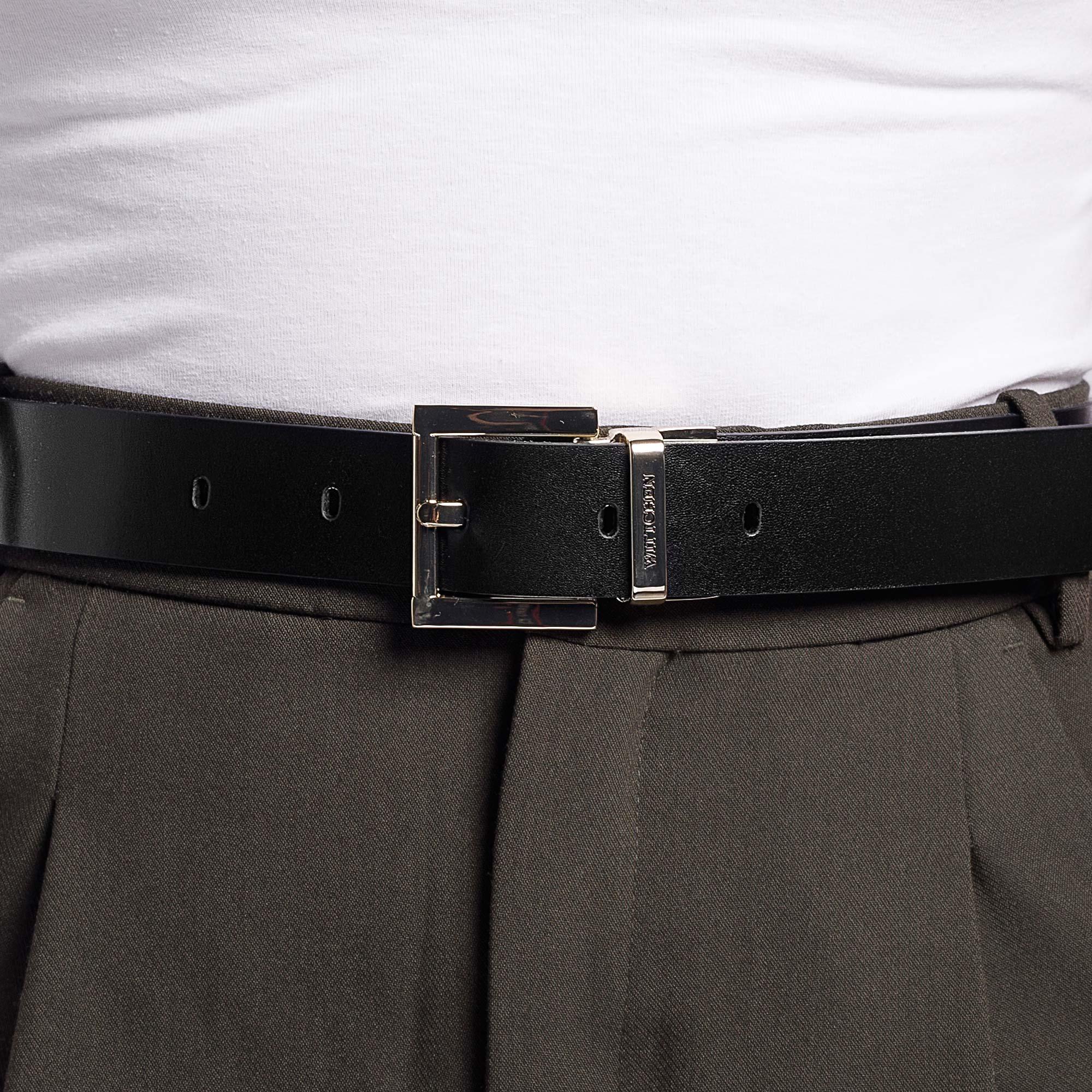 Damski pasek skórzany tłoczony w logo, czarno - biały, 92-8D-300-19-L, Zdjęcie 1