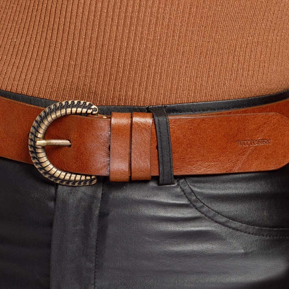 Damski pasek skórzany z klamrą z plecionego metalu, brązowy, 92-8D-309-5-L, Zdjęcie 1