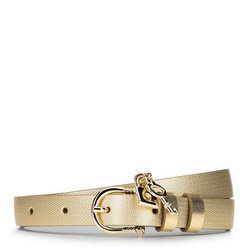 Women's leather belt with padlock detail, gold, 92-8D-307-G-2X, Photo 1