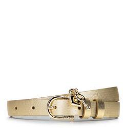 Damski pasek skórzany z kłódką, złoty, 92-8D-307-G-XL, Zdjęcie 1