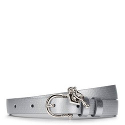 Damski pasek skórzany z kłódką, srebrny, 92-8D-307-S-2X, Zdjęcie 1