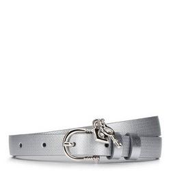 Damski pasek skórzany z kłódką, srebrny, 92-8D-307-S-S, Zdjęcie 1