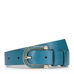 Women's leather belt, turquoise, 92-8D-302-Z-2X, Photo 1