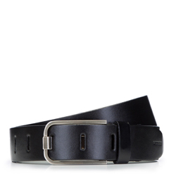 Damski pasek skórzany z nowoczesną klamrą, czarny, 92-8D-900-1-2X, Zdjęcie 1