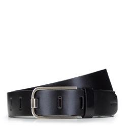 Damski pasek skórzany z nowoczesną klamrą, czarny, 92-8D-900-1-S, Zdjęcie 1