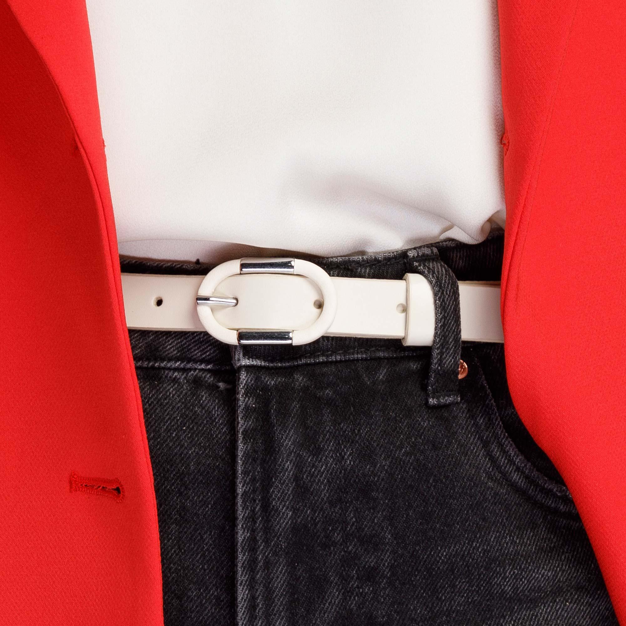 Damski pasek ze skóry z owalną klamrą, złamany biały, 92-8D-305-0-XL, Zdjęcie 1