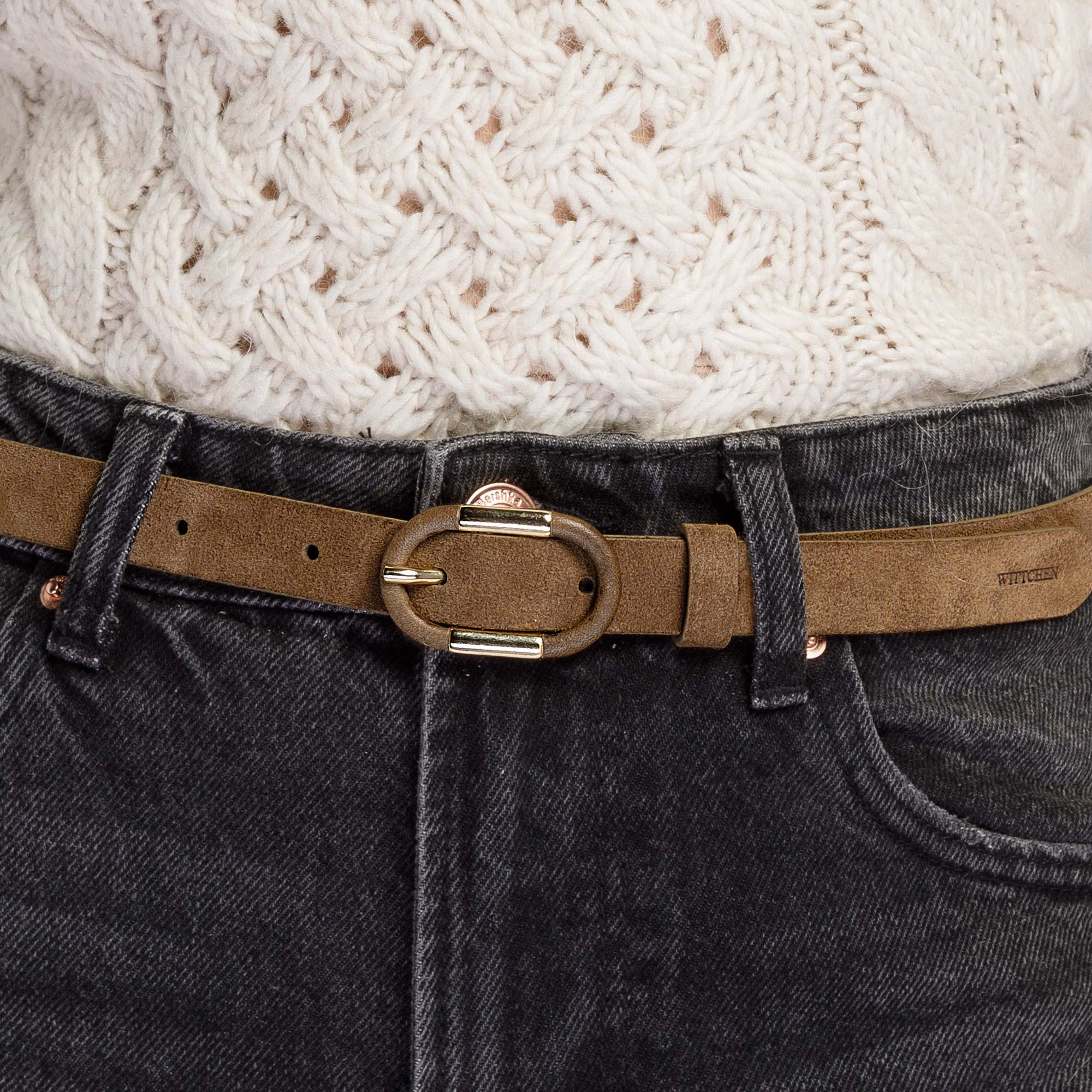 Damski pasek ze skóry z owalną klamrą, brązowy, 92-8D-305-5Z-M, Zdjęcie 1