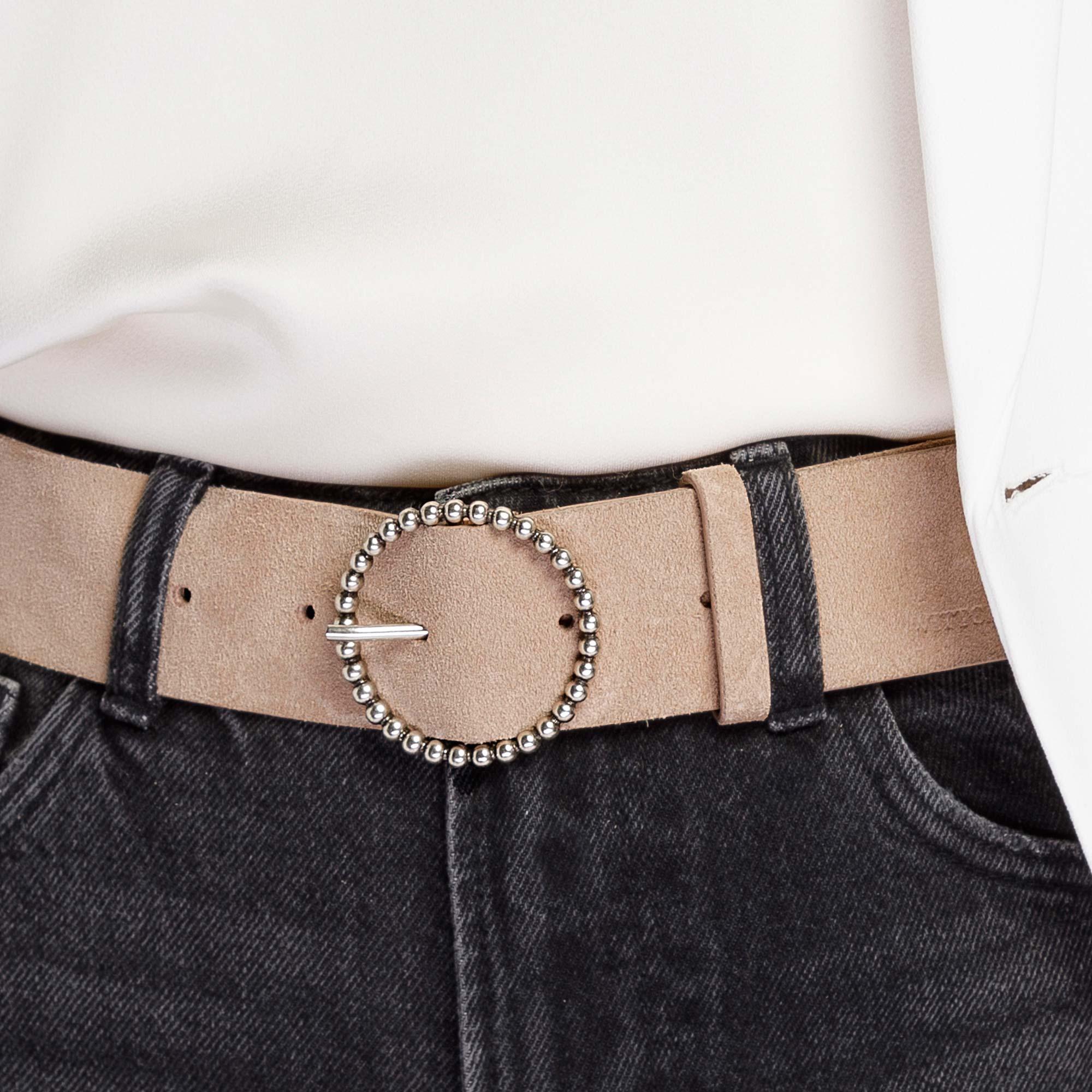 Damski pasek ze skóry welurowej z klamrą na obręczy, beżowo - srebrny, 92-8D-313-0-XL, Zdjęcie 1