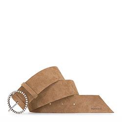 Damski pasek ze skóry welurowej z klamrą na obręczy, brązowy, 92-8D-313-5-L, Zdjęcie 1