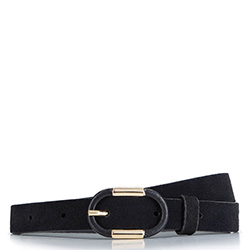 Skinny leather belt, black-gold, 92-8D-305-1Z-L, Photo 1