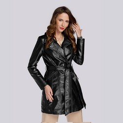 Damski płaszcz à la ramoneska ze skóry ekologicznej, czarny, 93-9P-107-1-L, Zdjęcie 1