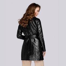 Damski płaszcz à la ramoneska ze skóry ekologicznej, czarny, 93-9P-107-1-2XL, Zdjęcie 1