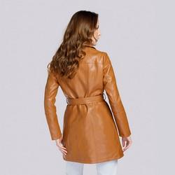 Damski płaszcz à la ramoneska ze skóry ekologicznej, koniak, 93-9P-107-4-M, Zdjęcie 1