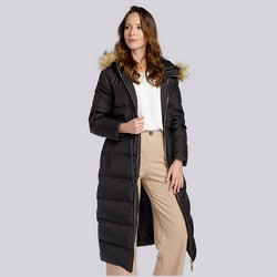 Damski płaszcz pikowany ze ściągaczem w talii, czarny, 93-9D-400-1-L, Zdjęcie 1