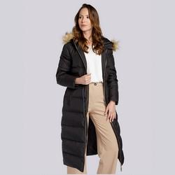 Damski płaszcz pikowany ze ściągaczem w talii, czarny, 93-9D-400-1-XL, Zdjęcie 1