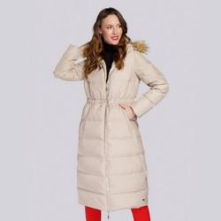 Damski płaszcz pikowany ze ściągaczem w talii, beżowy, 93-9D-400-9-S, Zdjęcie 1
